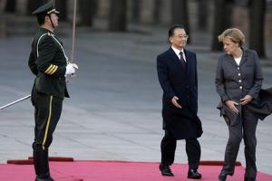 Wen Jiabao and Angela Merkel