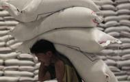 Indian worker carries sacks of grain at wholesale market.
