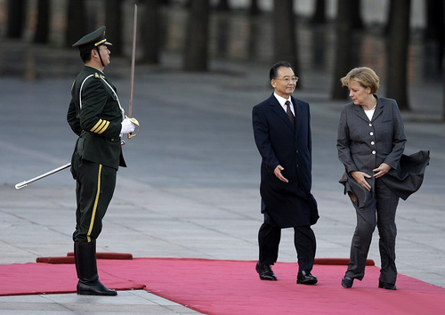 Wen Jiabao and Angela Merkel