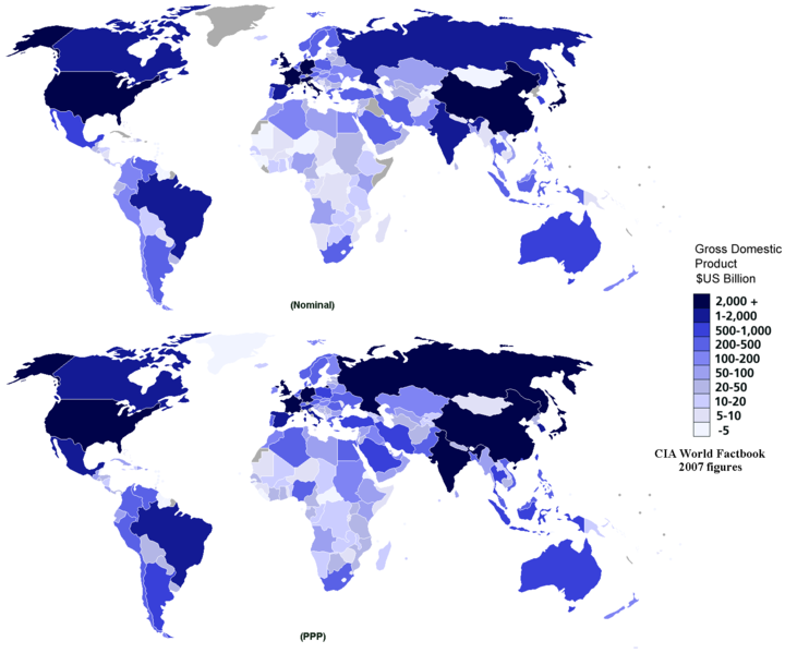 World Map Showing Nominal and Purchasing Power Parity GDP, 2007 estimates from CIA World Factbook