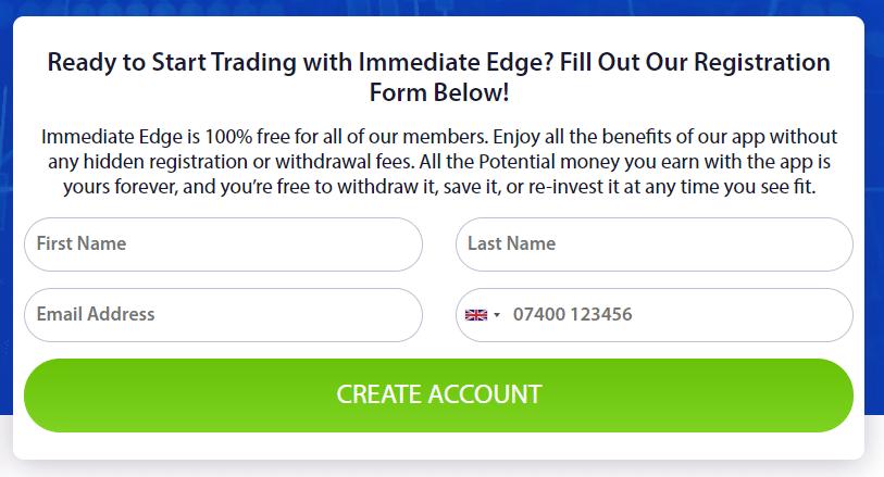 Immediate Edge - Create an Account