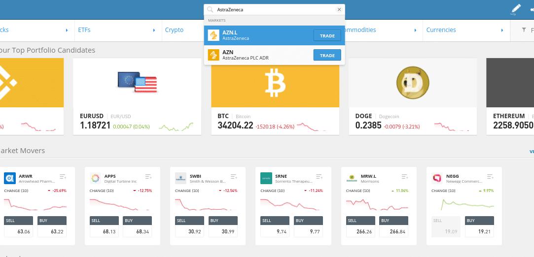 buy stocks on eToro