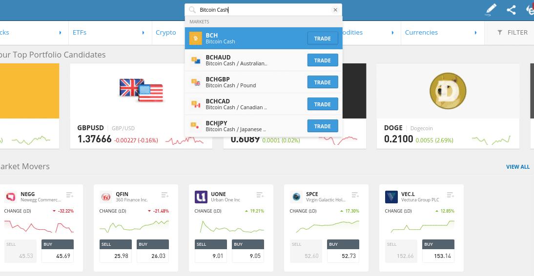 buy bitcoin cash etoro