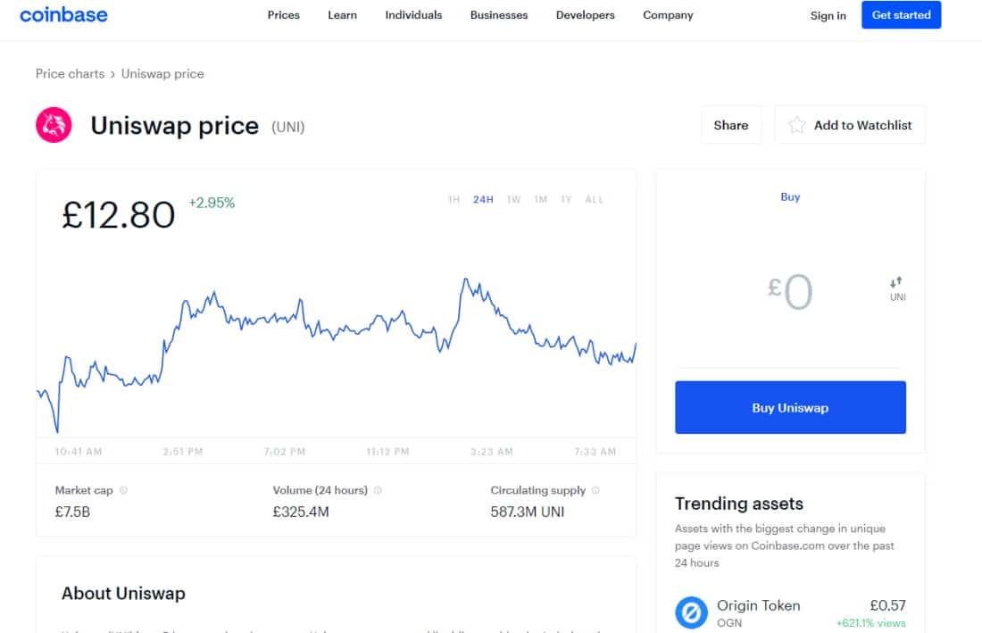 Coinbase buy UNI