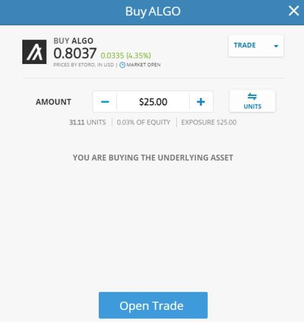 Buy ALGO on eToro