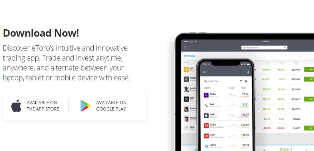 eToro mobile trading app