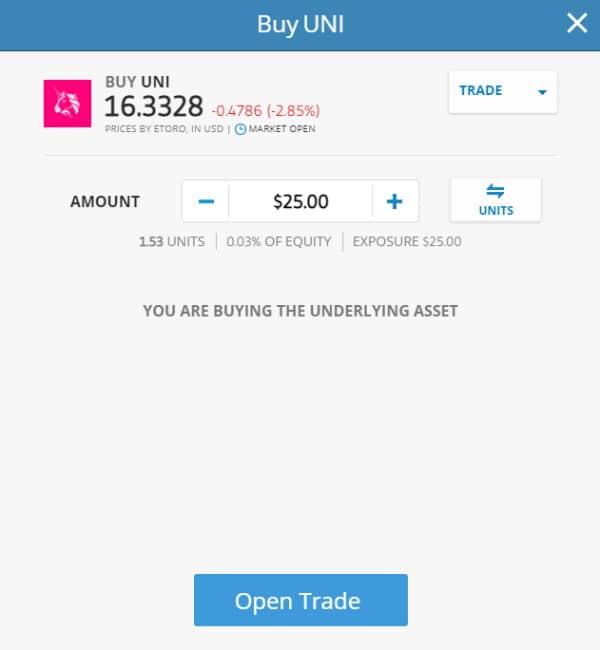 eToro open trade