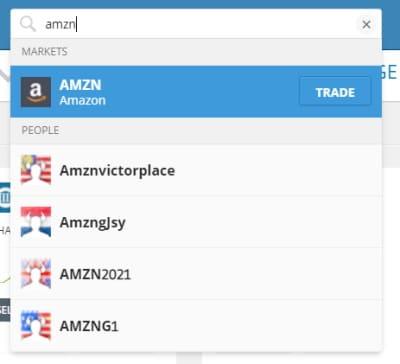 eToro search for AMZN stock
