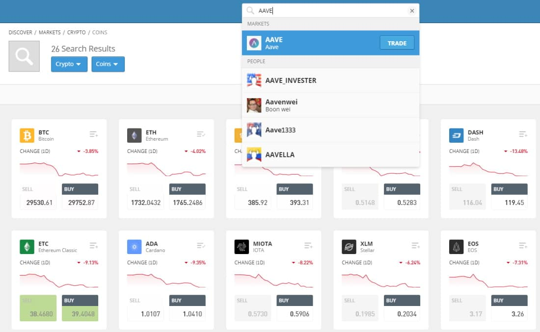 Search for AAVE on eToro