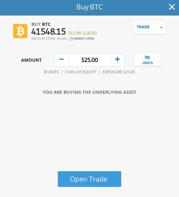 Buy Bitcoin at eToro