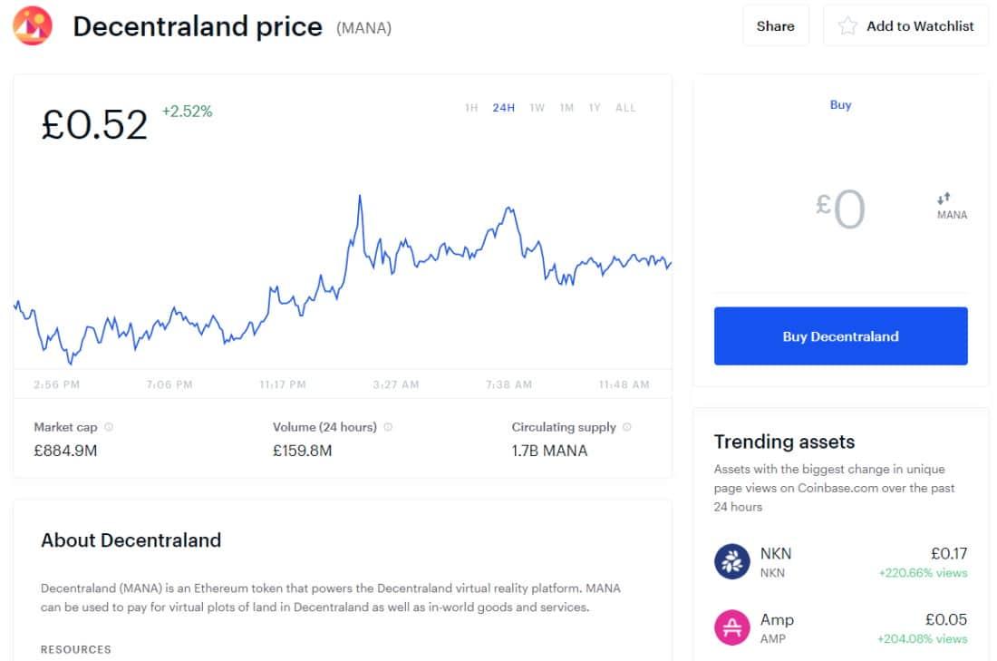 Coinbase buy Decentraland