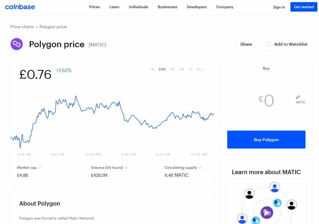 Coinbase buy MATIC
