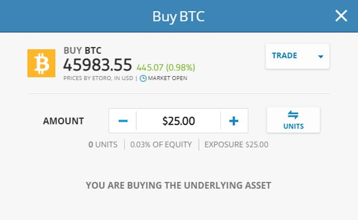 eToro invest in BTC with as little as $25