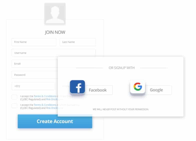 eToro open an account