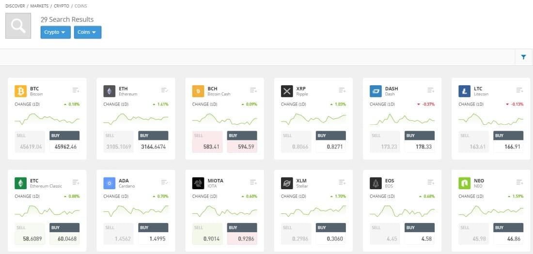 eToro Trade Markets Cryptos