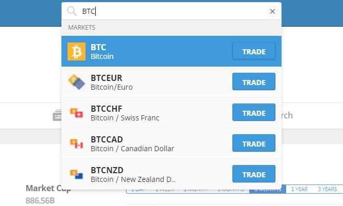 search for Bitcoin on eToro