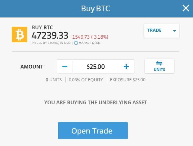 Open Trade on Bitcoin with eToro