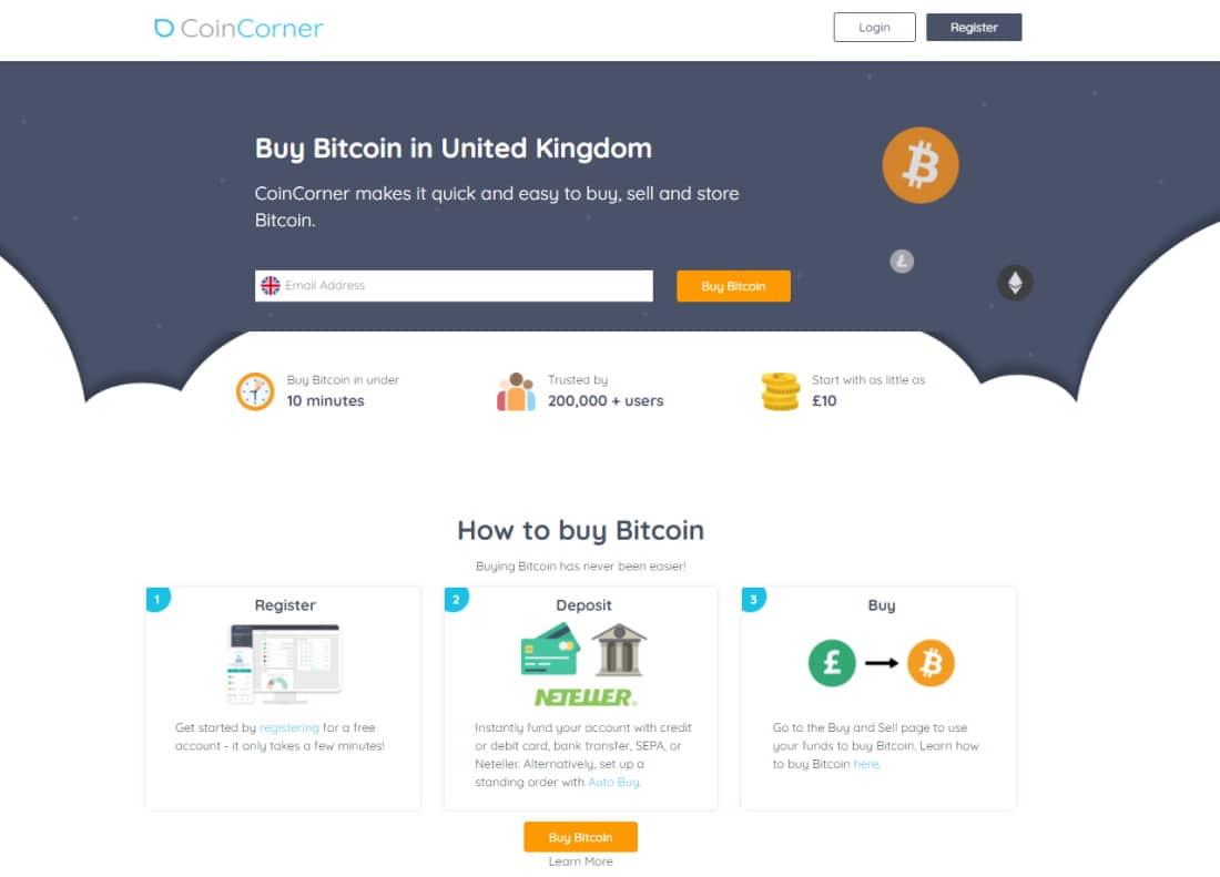 Coinbase alternative - CoinCorner buy Bitcoin in the United Kingdom
