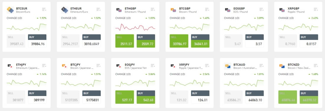 Coinbase alternative - eToro crypto to currency crosses