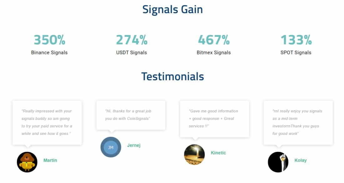 CoinSignals crypto signals website