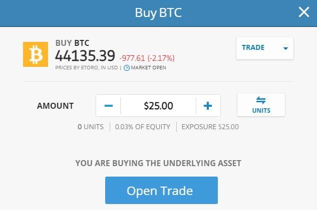 eToro buy BTC with as little as $25