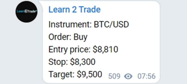 Learn2Trade crypto signals example