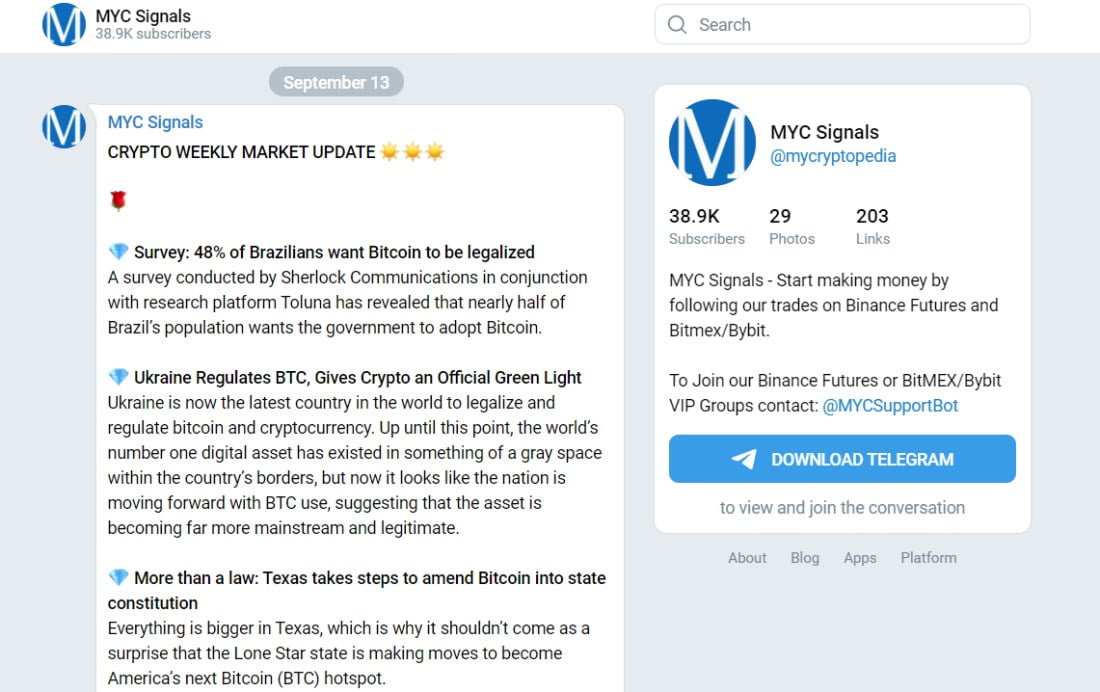 MYC Signals telegram channel with crypto signals