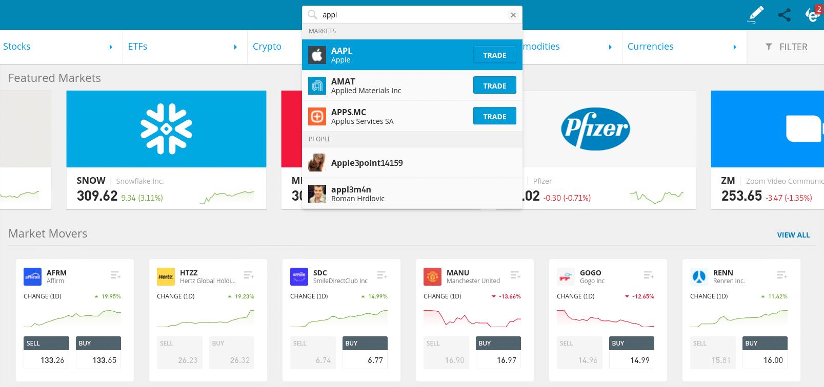 eToro invest in Apple search