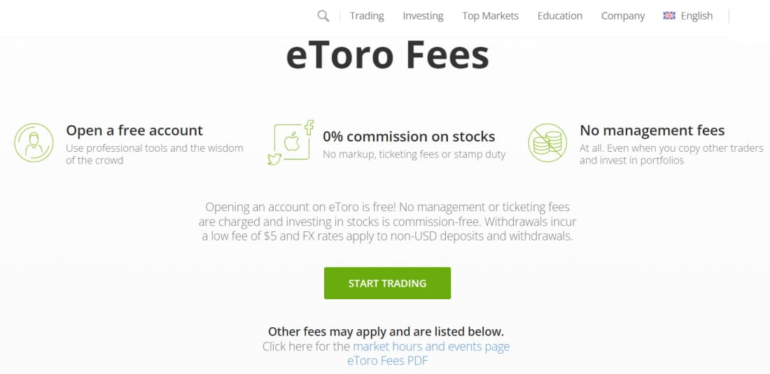AI Trading Platform - eToro's fees and commissions